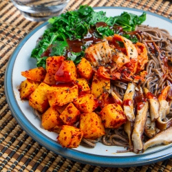 Roasted Butternut Squash Shiitake Mushroom Kale BibimSoba Recipe