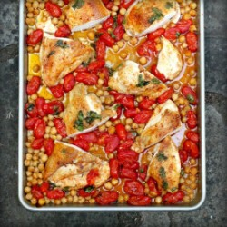 Roasted Chicken, Tomatoes, Chickpea