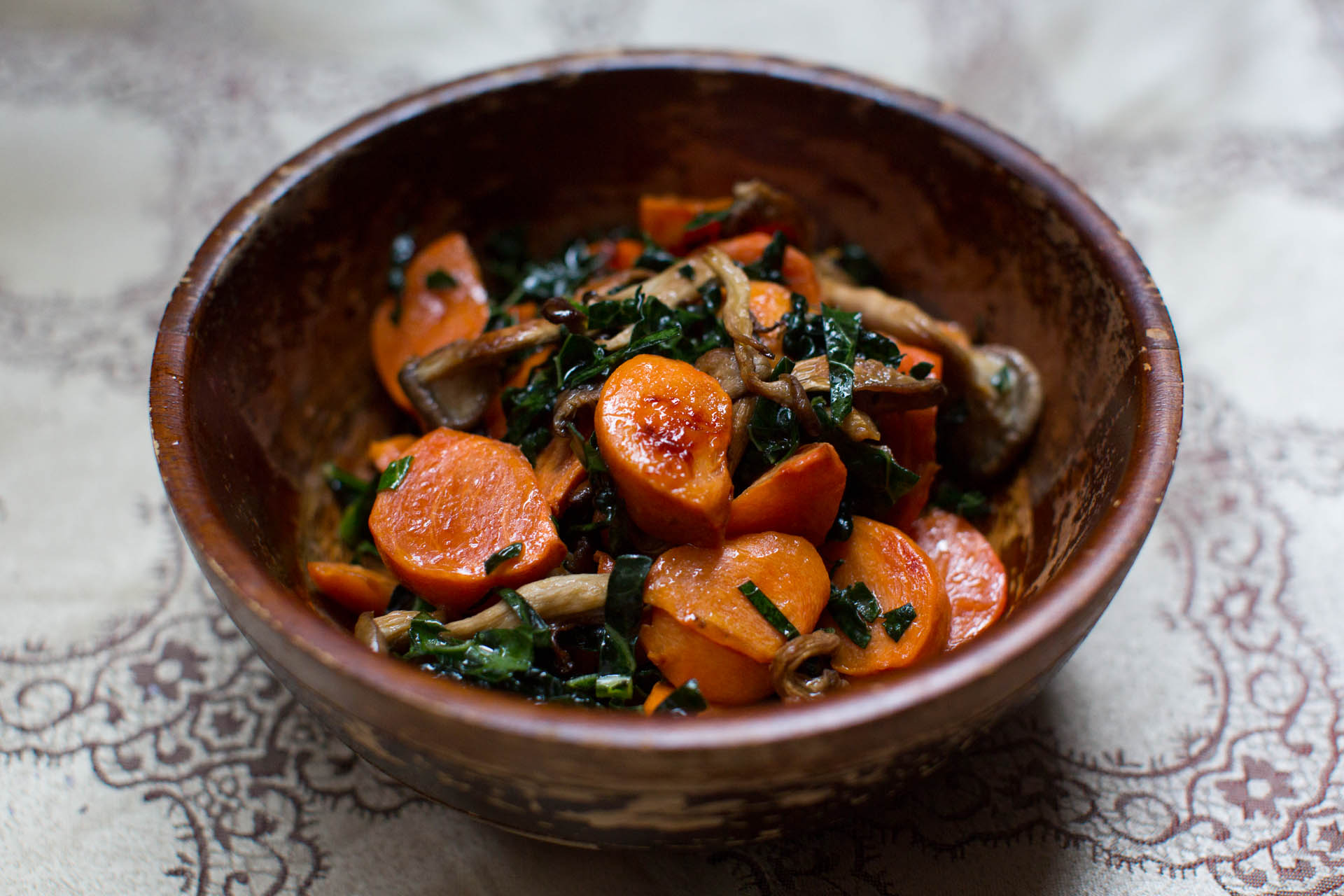 Roasted Persimmons with Mushrooms and Kale Recipe