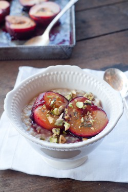 Roasted Plums and Oatmeal