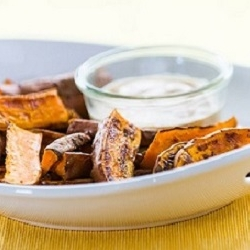 Roasted Sweet Potatoes Wedge Fries with Chipotle Sauce Recipe