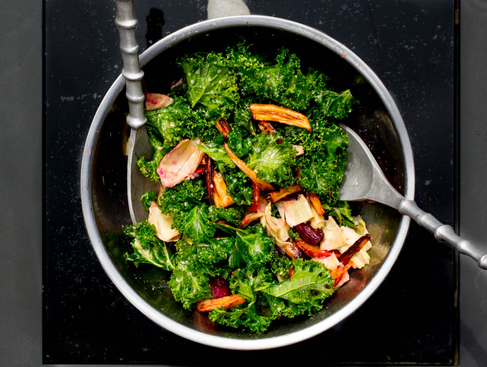 Root Vegetable Artichoke Kale Salad
