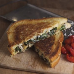 Shiitake and Kale Grilled Cheese Sandwich