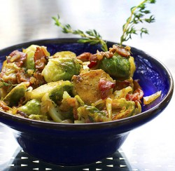 Skillet Brussels Sprouts with Bacon