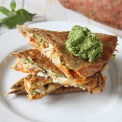 Spinach Hummus Sweet Potato Goat Cheese Quesadillas Recipe