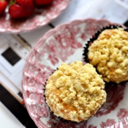Strawberry Banana Crumble Muffins