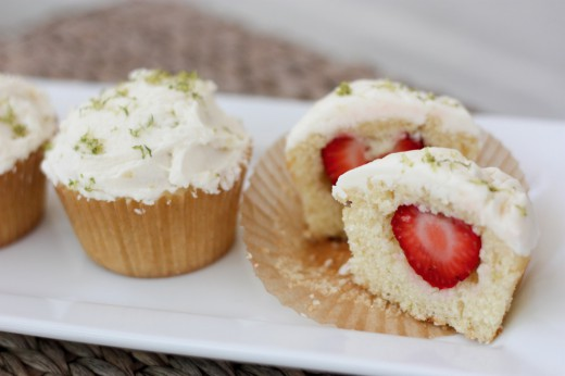 Strawberry-Lime Stuffed Cupcake