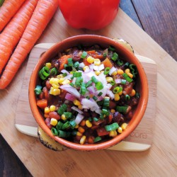 Three Bean and Black Rice Chili