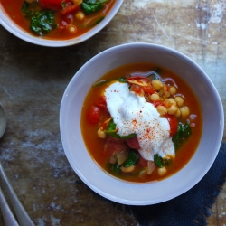 Tomato and Harissa Soup with Chickpeas and Spinach Recipe