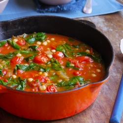 Tomato Chickpeas Harissa Soup with Spinach Recipe