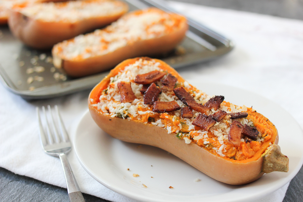 Twice Baked Butternut Squash with Kale and Coconut Bacon Recipe