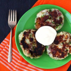 Wasabi Potato Patties w/ Sour Cream