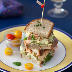 Avocado Egg Salad Poached Salmon Sandwich Recipe