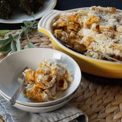 Baked Pasta with Pumpkin Caramelized Onions Sage Chevre
