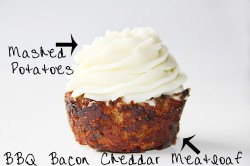 BBQ Bacon Cheddar Meatloaf Cupcakes with Mashed Potatoes Frosting Recipe