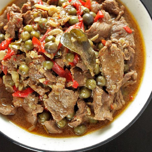 Beef and green nightshade stir fry