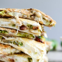 Brussels Bacon and Bean Quesadillas Recipe
