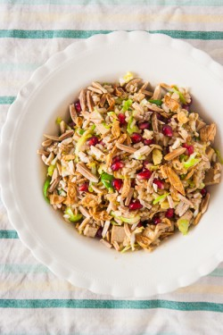 Brussels Sprout Pomegranate and Toasted Almond Salad Recipe