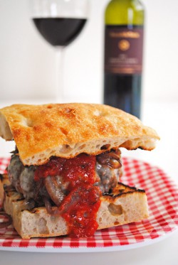 Chianti Burgers w/Caramelized Onion