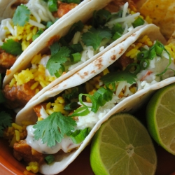 Chicken Tikka Masala Tacos with Turmeric Rice Recipe