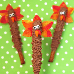 Chocolate Turkey Pretzel Pops