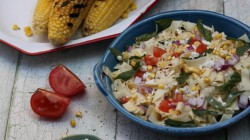 Corn Tomato Basil Feta Cheese Pasta Salad Recipe