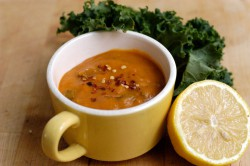 Creamy sweet potato and kale soup
