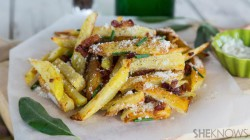 French fries alla carbonara