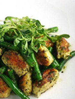 Gnudi with Green Beans and Pesto