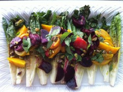 Hearts of Romaine with Beets Pistachios and Roasted Garlic Vinaigrette Recipe