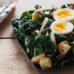 Kale Caesar Salad with Hazelnuts and Croutons Recipe