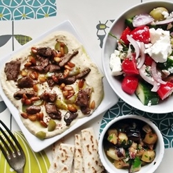 Lebanese Hummus with Spiced Lamb Pickles and Pinenuts