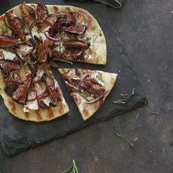 Naan Pizza with Goat Cheese Balsamic Roasted Figs Recipe