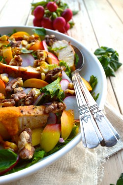 Nectarine Salad with Seared Chicken