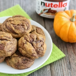 Nutella Swirl Pumpkin Cookies Recipe