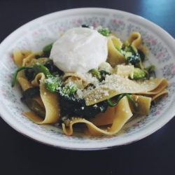 Pappardelle with Fava Beans Spinach and Poached Egg Recipe