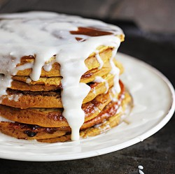 Pumpkin Cinnamon Roll Pancakes Recipe