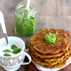 Pumpkin Pancakes with Green Pea Chutney and Mint Raita Recipe