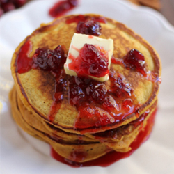 Pumpkin Ricotta Pancakes with Cranberry Syrup Recipe
