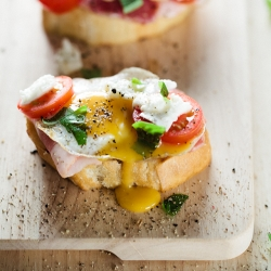 Quail Egg Crostini With Bacon Recipe
