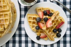 Raised Waffles with Warm Maple Butter