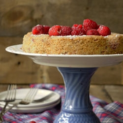 Raspberry Cake with Pluot and Ground Almond Recipe