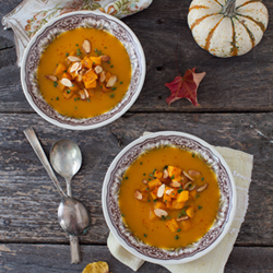 Roasted Butternut Squash Bisque with Almonds Recipe
