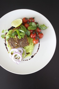 Roasted Snapper with Tomatoes and Guacamole Recipe