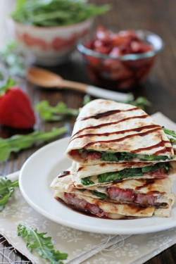 Roasted Strawberry Quesadillas