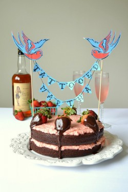 Rum Cake with Strawberry Frosting