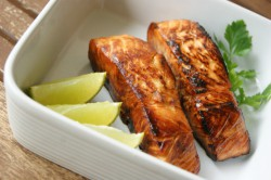 Sticky Salmon with Mint Rice