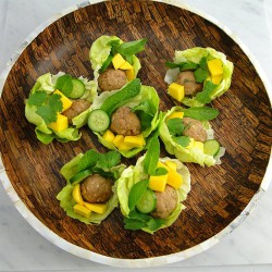 Thai-Style Meatballs in Lettuce Cup