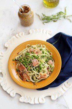 Zucchini Noodles in a Mustard-Tarragon Sauce with Green Peas and Smoked Salmon Recipe