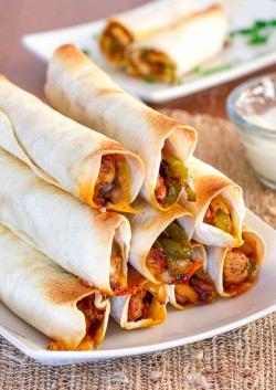 Baked Chicken Fajita Taquitos Recipe